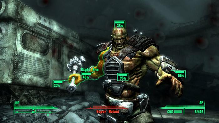 Storia di fallout - Un supermutante pronto ad essere crivellato di colpi